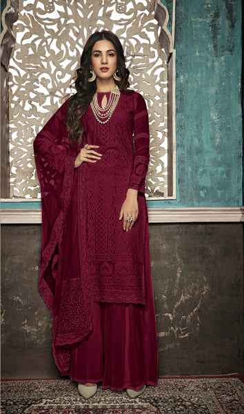 Beautiful and Designer Maroon Colour Straight Cut Suit