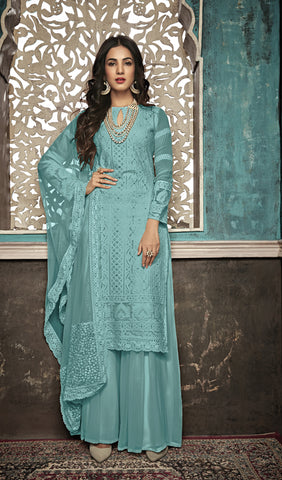 Beautiful and Designer Sky Blue Colour Straight Cut Suit
