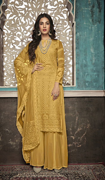 Beautiful and Designer Yellow Colour Straight Cut Suit