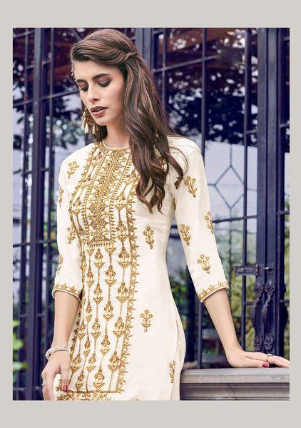 Beautiful and Designer Cream Colour Straight Cut Suit