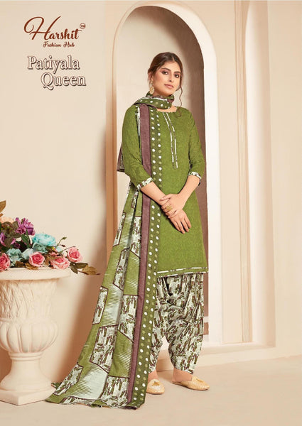 Designer and Beautiful Olive Color Patiala Suit