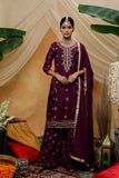 Wine Colour Zari Embroidered Straight Cut Suit