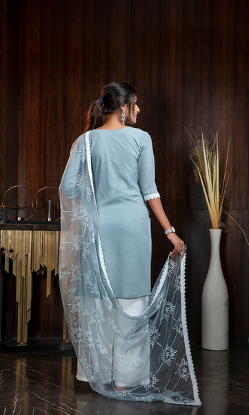 Sky Blue Diamond Georgette Embroidered Straight Cut Suit