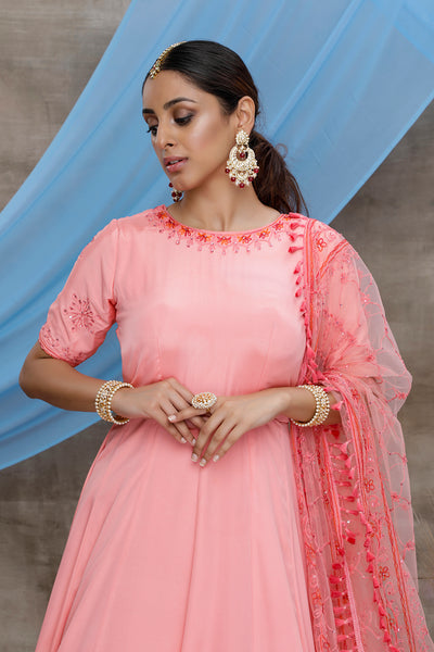 Pink Silk Thread Embroidered Anarkali Suit