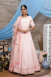 Peach Diamond Georgette Thread Embroidered Anarkali Suit