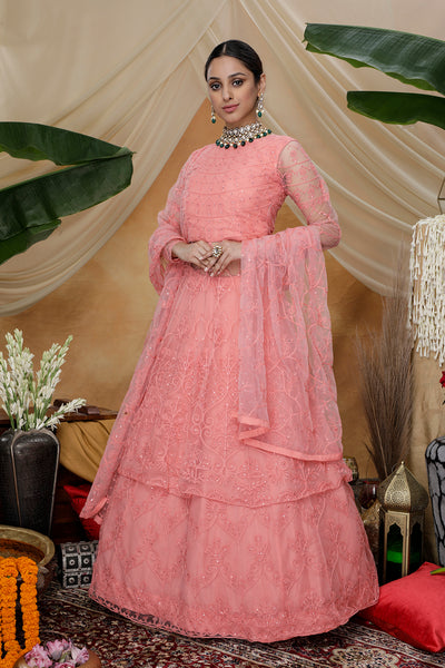 Pink Net Multi Thread Embroidered Anarkali Suit