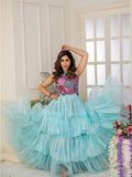 Designer and Beautiful Sky Blue Gown