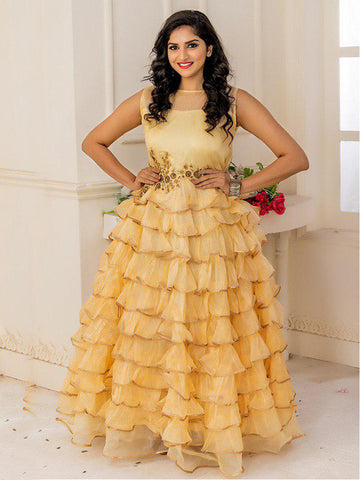 Designer and Beautiful Goldrod Gown