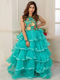 Designer and Beautiful Cyan Gown