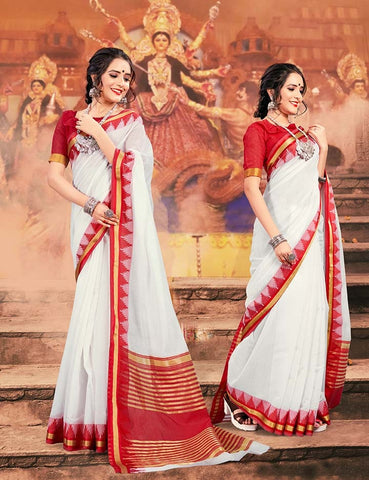 White And Red Color Khadi Silk Saree