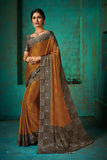 Designer and Beautiful Gold Color Chiffon Saree