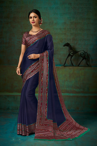 Designer and Beautiful Blue Color Chiffon Saree