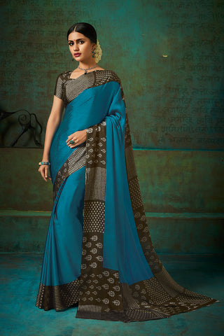 Designer and Beautiful Sea Green Color Chiffon Saree