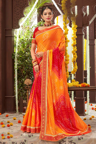 Orange Color Mosh Chiffon Printed Saree