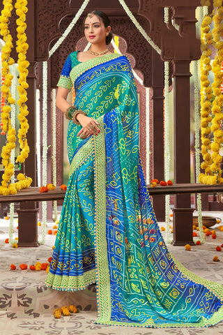 Blue Color Mosh Chiffon Printed Saree