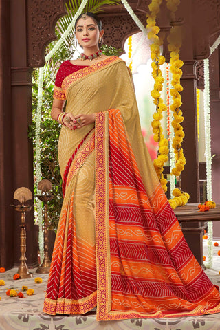Beige Color Mosh Chiffon Printed Saree