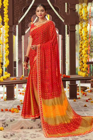 Red Color Mosh Chiffon Printed Saree