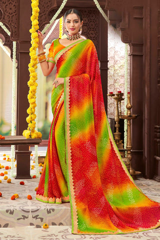Multi Color Mosh Chiffon Printed Saree