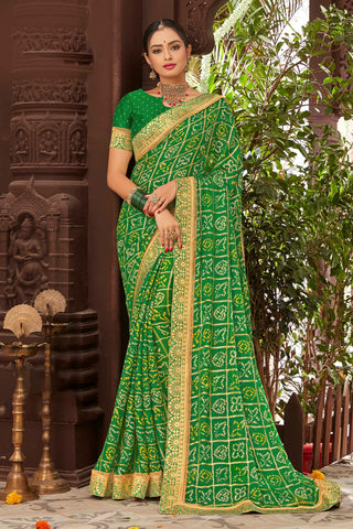 Green Color Mosh Chiffon Printed Saree