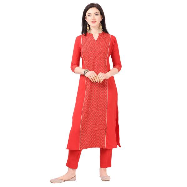 Red Crepe Printed Kurti with Pant
