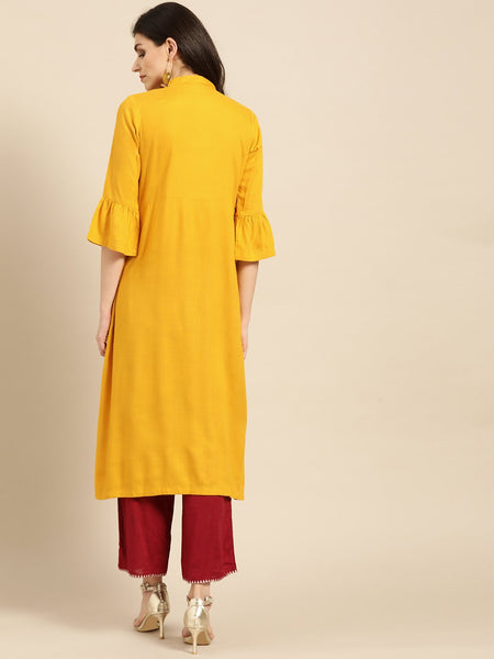 Mustard Cotton Thread Worked Anarkali Kurti