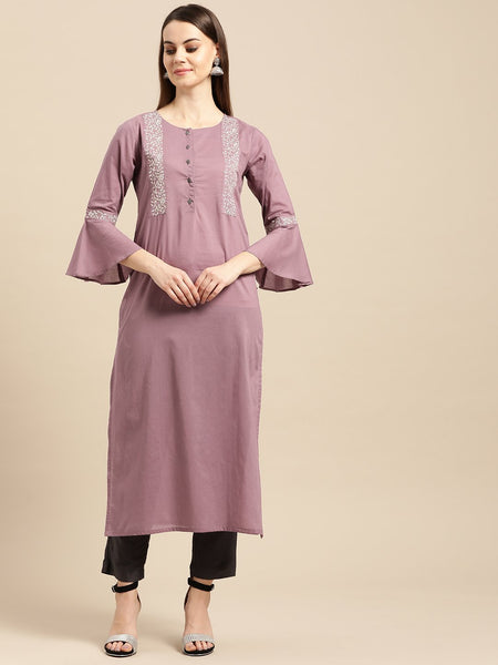 Mauve Cotton Printed Straight Cut Kurti