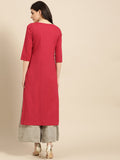 Red Cotton Printed Straight Cut Kurti