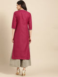 Dark Pink Cotton Printed Straight Cut Kurti