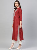 Maroon Cotton Printed Straight Cut Kurti