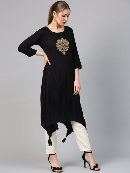Black Cotton Printed Anarkali Kurti