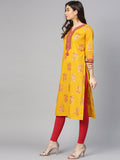 Mustard Cotton Printed Straight Cut Kurti