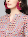 Blue Cotton Printed Straight Cut Kurti
