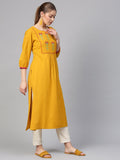 Mustard Yellow Cotton Printed Straight Cut Kurti