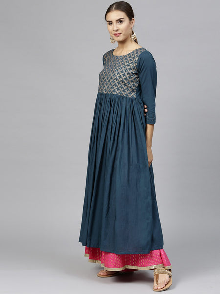 Teal Blue Cotton Printed Anarkali Kurti
