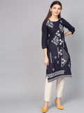 Navy Blue Cotton Printed Straight Cut Kurti