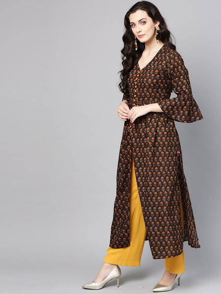 Coffee Brown Cotton Printed Straight Cut Kurti