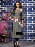 Designer Grey & Black Color Straight cut Kurti