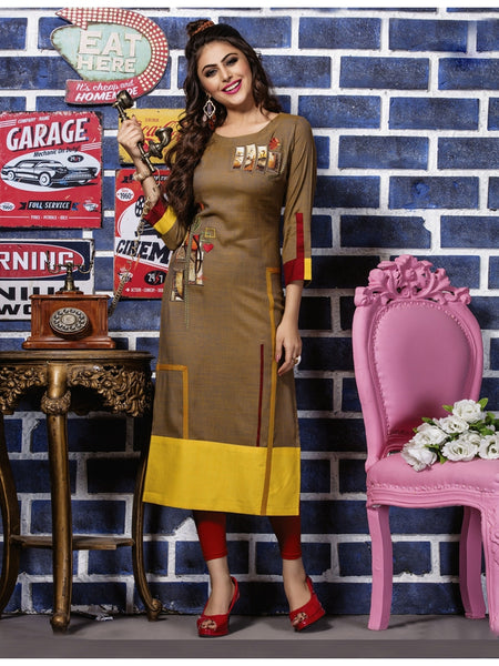 Designer Brown & Yellow Color Straight cut Kurti