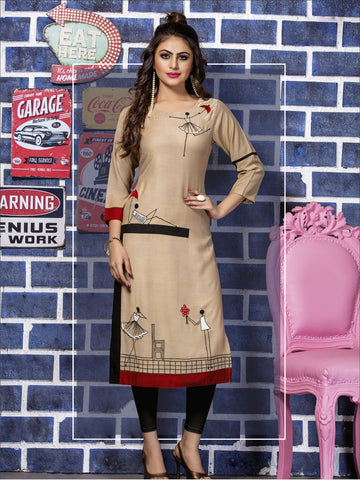 Designer Beige Color Straight cut Kurti