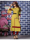 Designer Yellow Color Straight cut Kurti
