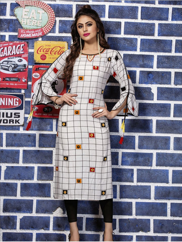 Designer White Color Straight cut Kurti