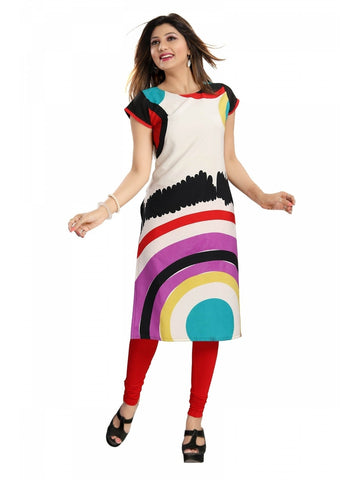Color Block Poly Crepe Designer Kurti