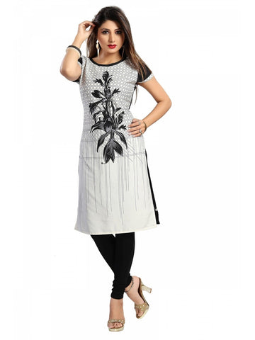 Fine Poly Crepe black and white Kurti