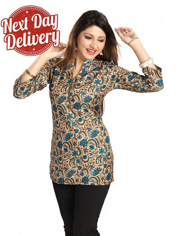 Blue Floral printed art silk short Kurti