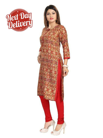 Red Art Silk Straight Kurti