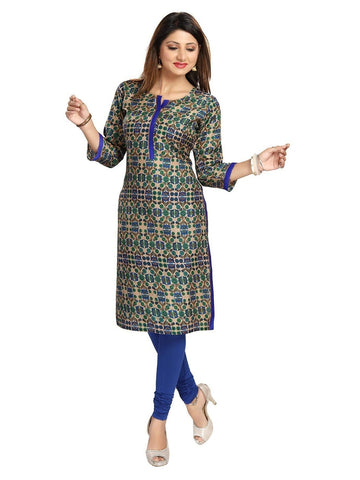 Blue Art Silk Straight Kurti