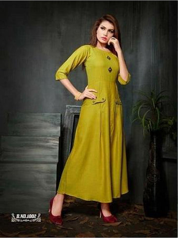 Designer Mustard Yellow Color Rayon Slab Straight Cut Kurti