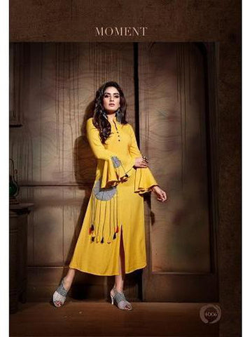 Designer Light Yellow Color Rayon Slab Straight Cut Kurti
