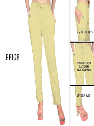 Exclusive Beige Color Slub Cotton Pant