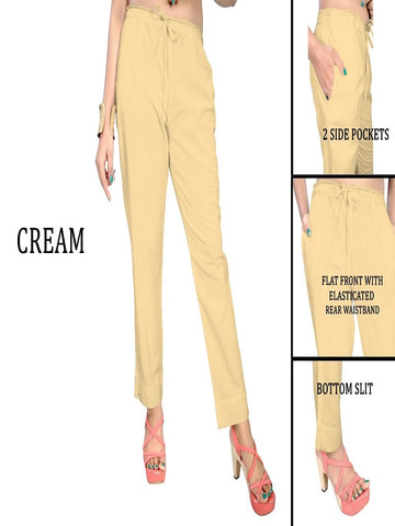 Exclusive Cream Color Slub Cotton Pant